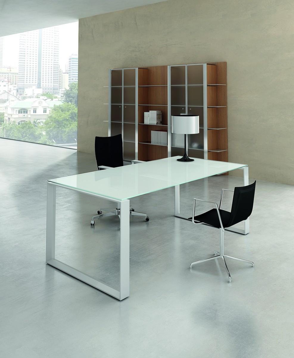 X7 Schreibtisch  Glas - Gestell geschlossen