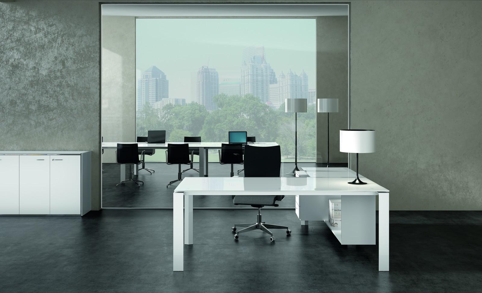 X7 Schreibtisch  Glas - Gestell offen