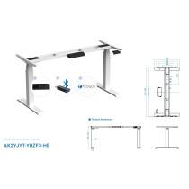 Elektrisch höhenverstellbares Schreibtischgestell mit Digitadisplay und BLUETOOTH stufenlos verstellbar für Tischplatten von 1200 - 1800 mm